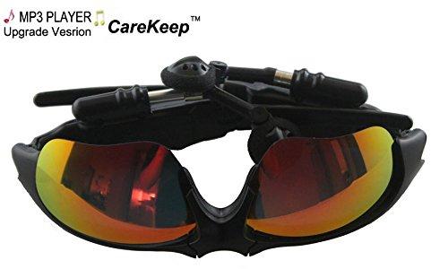 Carekeep Fashion Deluxe Built In 4Gb Sunglass Sun Glass Sports Sport Headset Headphone Mp3 Wma Player Mirror Gold Lens Polarized Light