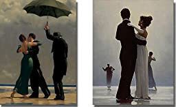 Dancer in Emerald and Dance Me To the End of Love by Jack Vettriano 2-pc Premium Stretched Canvas Set (Ready-to-Hang)