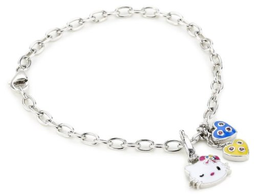 Simmons Hello Kitty heart hammer Disc Platinum-plated lovely enamel top quality Swarovski Crystal pave charm bracelet ladies [parallel import goods]