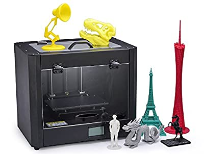 Omzer 3d Printer Creator Pro, One-batch forming Metal Frame Structure, Acrylic Covers, Optimized Build Platform, Dual Extruder W/2 Spools, Works with ABS and PLA