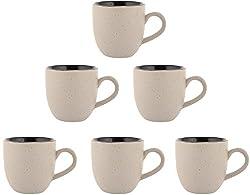 Somny Ceramic Tea Cup Set, 110 ml, Set of 6, White and Black