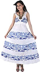 Exotic India Chic White And Blue Printed Barbie Dress With Crochet Embro - White