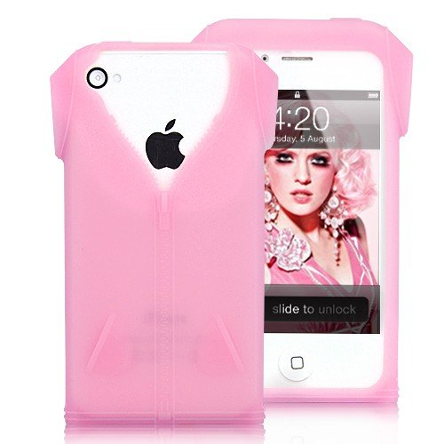 Fashionable Zipper T-shirt Design Silicone Case For iPhone 4 - Pink