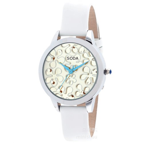 Ufingo-Fashionhigh End Luxury Nice Quartz Watch For Ladies/Women/Girls-White Leather Strap White Dial