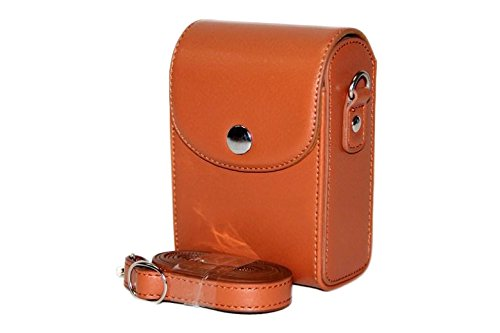 MoreGift4U Schutz PU-Leder Kamera-Schulter-Rucksack Reisen Rucksack-Tasche Tasche Hülle für Samsung WB800F WB201F WB200F WB280F WB150 / F Braun + Gratis-Schulter-Ansatz-Bügel-Gurt