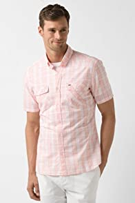 Short Sleeve Poplin Button Down Heathered Effect Plaid Woven Shirt