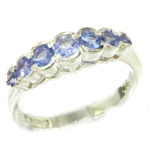 High Quality Solid Sterling Silver Ladies Natural Tanzanite Contemporary Style Eternity Band Ring - Size 12 - Finger Sizes 5 to 12 Available - Suitable as an Anniversary ring, Engagement ring, Eternity ring, or Promise ring