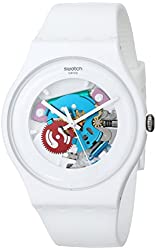 Swatch White Lacquered Ladies Watch SUOW100