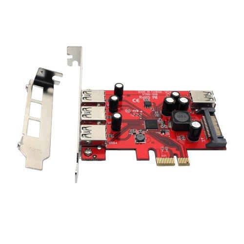 Aleratec 4-Port (3 External + 1 Internal) Pci Express Superspeed Usb 3.0 Controller Card Adapter With Sata Power