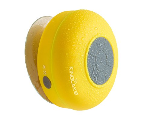 Kinglake® New Waterproof Wireless Bluetooth Shower Speaker Handsfree Speakerphone Compatible With All Bluetooth Devices Iphone 5S And All Android Devices (Yellow)
