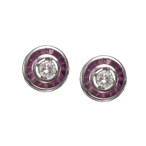 Betrys' 925 Sterling Silver Stud Earrings Round Clear CZ Bezel Center w/ Ruby Gems Outline - Incl. ClassicDiamondHouse Free Gift Box & Cleaning Cloth