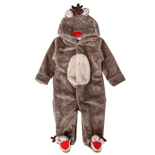 Ecosin Baby Clothes Deer Romper Winter Leotard Pajamas Warm Outwear Outfits (18 Months, Coffee)