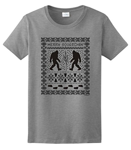 Ugly Christmas Sweater Sasquatch Ladies T-Shirt Large Sport Grey