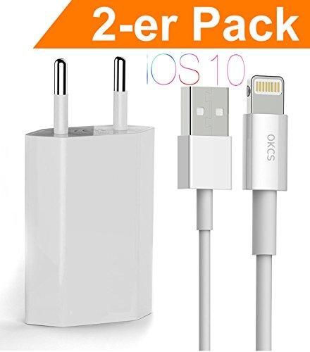 OKCS® iPhone Caricabatterie / 2 x Cavo di dati + 1A USB Adattatore per iOS10 iPhone 7, 7 Plus, 6s, 6s Plus, 6, 6 Plus - en Bianco