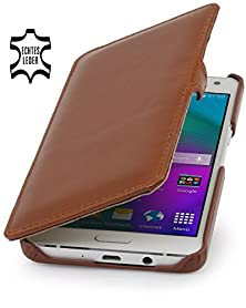 buy Stilgut Book Type With Clip, Genuine Leather Case For Samsung Galaxy A5, Cognac Brown