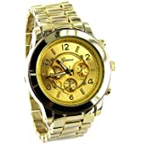 Geneva Platinum Men's Brushed Finish Link Watch-Gold