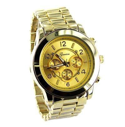 Geneva Platinum Men's Brushed Finish Link Watch-Gold (Geneva Platinum Watch compare prices)