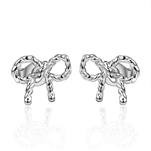 Womens Fashion Jewelry Women Ladies Graceful Bow Plug-in stud earrings Stud Earrings -LanceStore