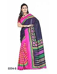 Dazzling Multicolor Bhagalpuri Printed Art Silk Designer Saree