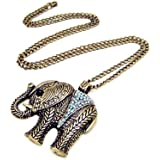 Vintage Retro Bronze Large Elephant CLear Crystal Long Necklace Animal