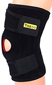 Yosoo Adjustable Neoprene Knee Support Brace with Basic Open Patella Stabilizer Kneecap Support and Lateral Stabilizers for Workout