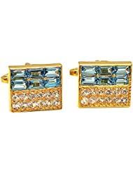 Cufflink-Tresure Blue 92.5 CZ Sterling Silver Cufflinks For Men (Ct9021)