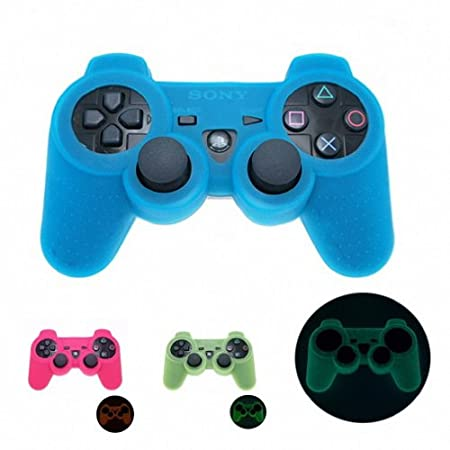 BLUE GLOW in DARK Playstation 3 PS3 Wireless Game Controller Anti-Slip Silicone Case Skin Protector Cover (Many Colors Available)