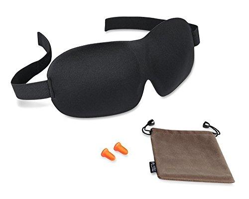 PLEMO 立体型睡眠アイマスク 耳栓 男女兼用 100%遮光 軽量・究極の柔らかシルク質感 睡眠、旅行に最適 耳栓と収納袋付きセット(フリーサイズ)