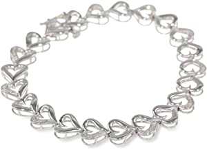 Sterling Silver Diamond Heart Bracelet (0.05 Cttw, I-J Color, I2-I3 Clarity), 7.25