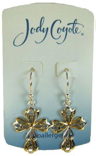 Jody Coyote Silver and Gold Butterfly Cross Earrings