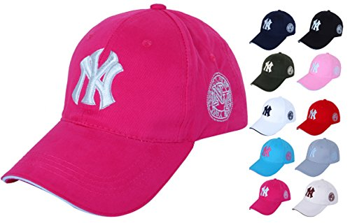 (10 colors) New York Yankees casual Cap Baseball Cap Hat caps NY men women (vivid pink).
