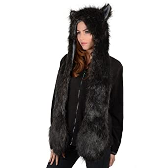 Ladies Black Faux Fur Husky Wolf Style Super Warm Animal Hat with Attached Scarf