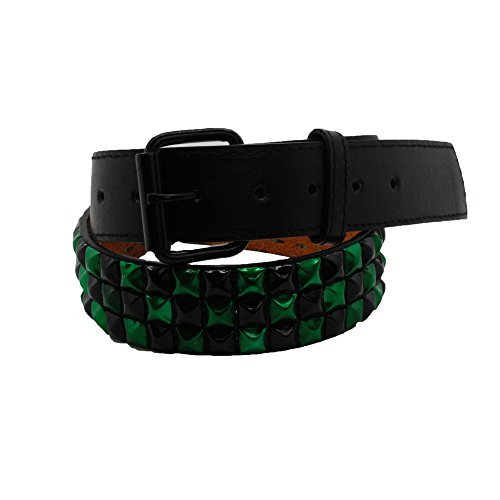 Bullet 69Nero e Verde Controllato 3Row Studded Belt (38mm) Nero  nero & verde