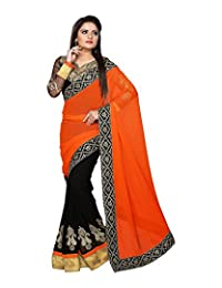 Bano Tradelink Women's Chiffon Saree (Orange) - B00WI6KBHG