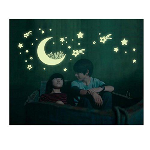 GBSELL Star Moon Luminous Stickers Living Room Bedroom Decoration Wall Stickers (C)