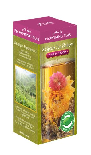 Primula Flowering Green Teas with Variety Flavors, 8-Count Pods (Pack of 2)