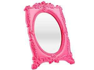 Silly mirror baroque round large plastic pink amazon for Plastic baroque mirror