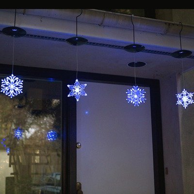 Mr. Light Solar Individual Hanging Led Snowflake, 6-Inch, Blue/White, Set Of 4
