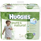 Huggies Pure & Natural Diapers, Size 5, 52 Count (Pack of 2) (Packaging May Vary)