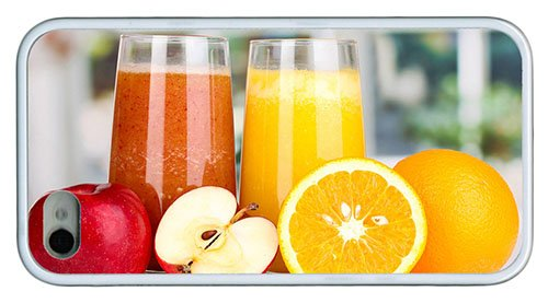 Stylish Iphone 4 Case Popular Covers Nutritious Juice Apples Oranges Tpu White For Iphone 4/4S front-1074719