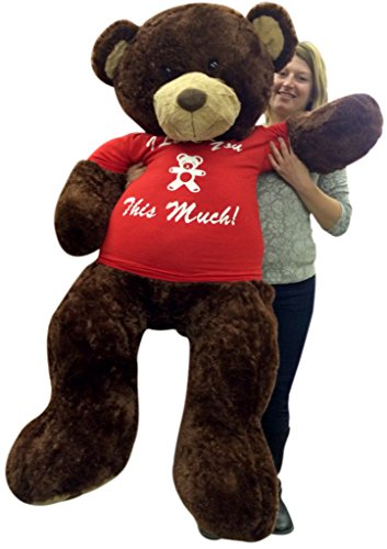Giant-5-Foot-Teddy-Bear-Soft-Brown-60-Inch-Big-Plush-Wears-T-shirt-I-LOVE-YOU-THIS-MUCH