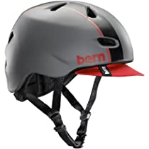 BERN Brentwood Matte Helmet with Visor (Grey/Red Bomber, Large)