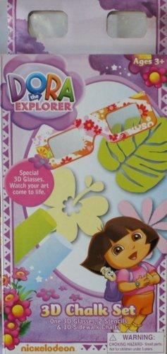 Nickelodeon Presents Dora the Explorer 3D Chalk Set - 3D Glasses, 2 Stencils, & 10 Sidewalk Chalks