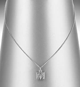 Platinum Plated Diamanté M Letter Pendant Necklace