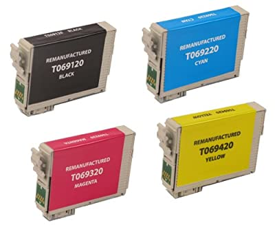 4 Pack Remanufactured Inkjet Cartridges for Epson T069 #69 T069120 T069220 T069320 T069420 Compatible With Epson Stylus C120, Stylus CX5000, Stylus CX6000, Stylus CX7000F, Stylus CX7400, Stylus CX7450, Stylus CX8400, Stylus CX9400 Fax, Stylus CX9475 Fax,