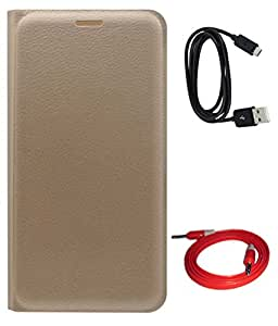 TBZ PU Leather Flip Cover Case for Lenovo K6 Note with Aux Cable and Data Cable -Golden