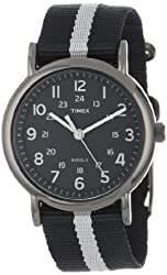 "Timex Unisex T2N889 ""Weekender"" Black and Gray Nylon Strap Watch"