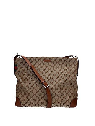 Borse a Tracolla Gucci Donna Tessuto Marrone e Beige 308930F4CSN8527 12x30x34 cmEU