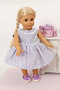DOLLS LILAC FLOWER DRESS BY FRILLY LILY FOR 14-18 INCH [ 35-45 CM] DOLLS SUCH AS BABY BORN, AMERICAN GIRL DOLL AND HANNAH BY GOTZ