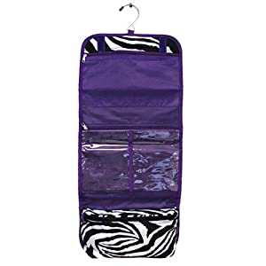 Purple Zebra Hanging Travel Toiletry Cosmetic Bag from Private Label